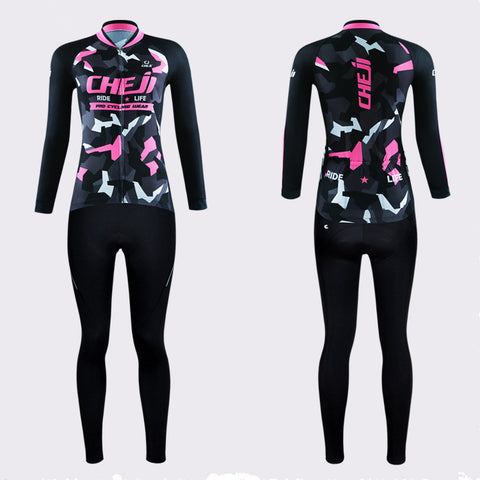 Tropical Pink Black Long Sleeve Cycling Jersey Set + Gloves - enjoy-outdoor-sport