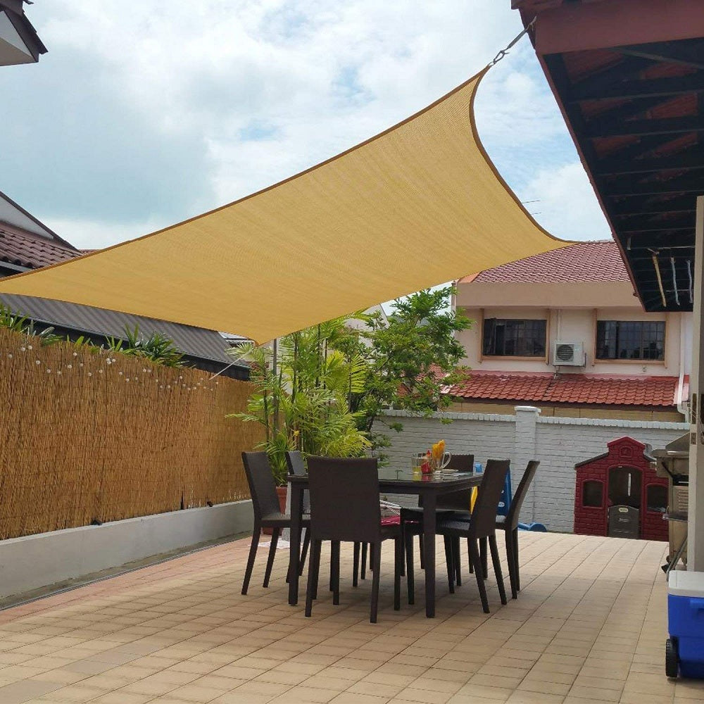 Shade&Beyond 10' X 13' Sand Color Rectangle Sun Shade Sail