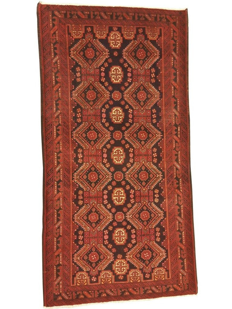 red and black persian baluchi rug