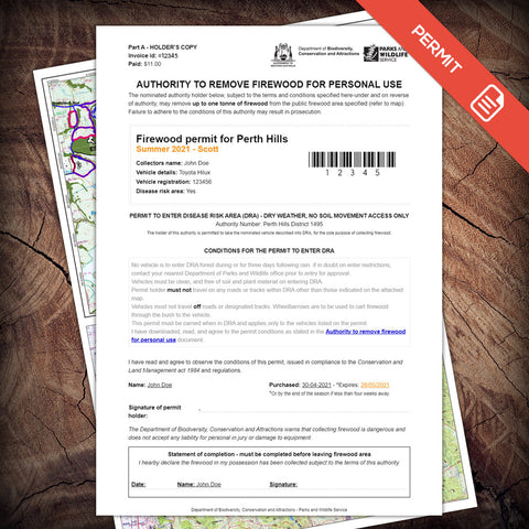 Firewood permit for Perth Hills