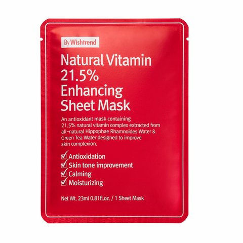 BY WISHTREND Natural Vitamin C21.5 Enhancing Sheet Mask Nudie Glow Korean Sheet Mask Fragrance-Free Australia