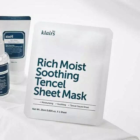Klairs Rich Moist Soothing Tencel Sheet Mask Fragrance Free Nudie Glow Korean Sheet Mask Fragrance-Free Australia
