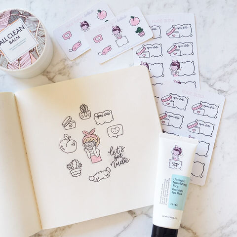 Nudie Glow x Doodlesdo Collaboration Skin Care Sticker Sheets Design