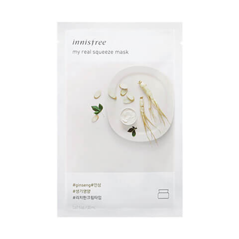 Innisfree My Real Squeeze Sheet Mask Ginseng at Nudie Glow Best Korean Beauty Australia