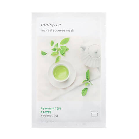 Innisfree My Real Squeeze Sheet Mask Green Tea at Nudie Glow Best Korean Beauty Australia