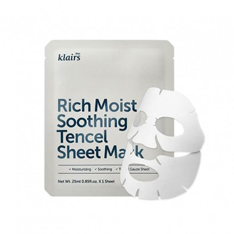 Klairs Rich Moist Soothing Tencel Sheet Mask Nudie Glow Korean Beauty Skincare Australia