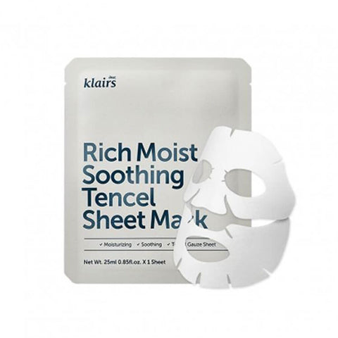 Klairs Rich Moist Soothing Tencel Sheet Mask at Nudie Glow Best Korean Beauty Store Australia