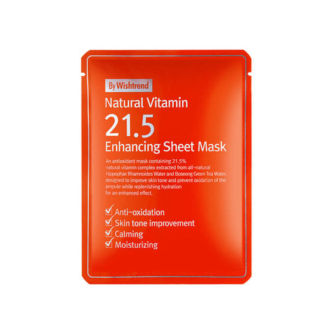 Wishtrend Natural Vitamin C21.5 Enhancing Sheet Mask at Nudie Glow Best Korean Beauty Store Australia