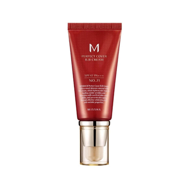 Nudie Glow MISSHA M Perfect Cover BB Cream No.21 [Light Beige] Korean Beauty Skincare Australia