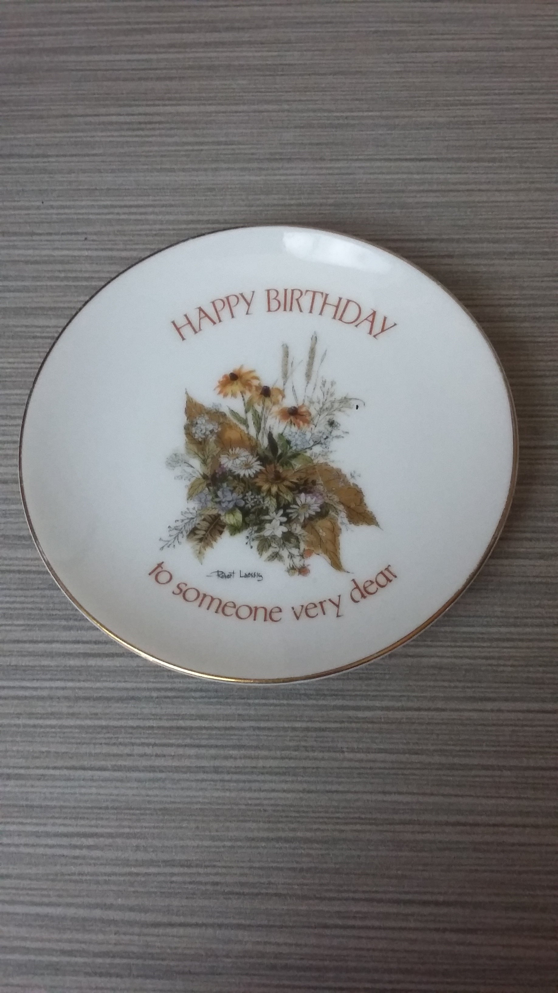 Vintage Collectible Happy Birthday Plate GOLD Trim - Japan