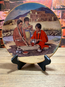Preparing the Berry Harvest Collectible Plate Proud Indian Families The Hamilton Collection 1992 w/Stand