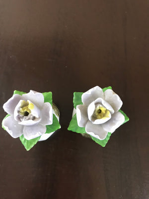 Vintage Fine Diammantine China Rose Salt & Pepper Shakers - Japan