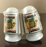 Vintage Ceramic Porcelain Novelty Pineapple Hawaii Salt & Pepper Shakers - Taiwan 1960's