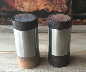 Vintage DAK Wood & Stainless Steel Salt & Pepper Shakers 1960's