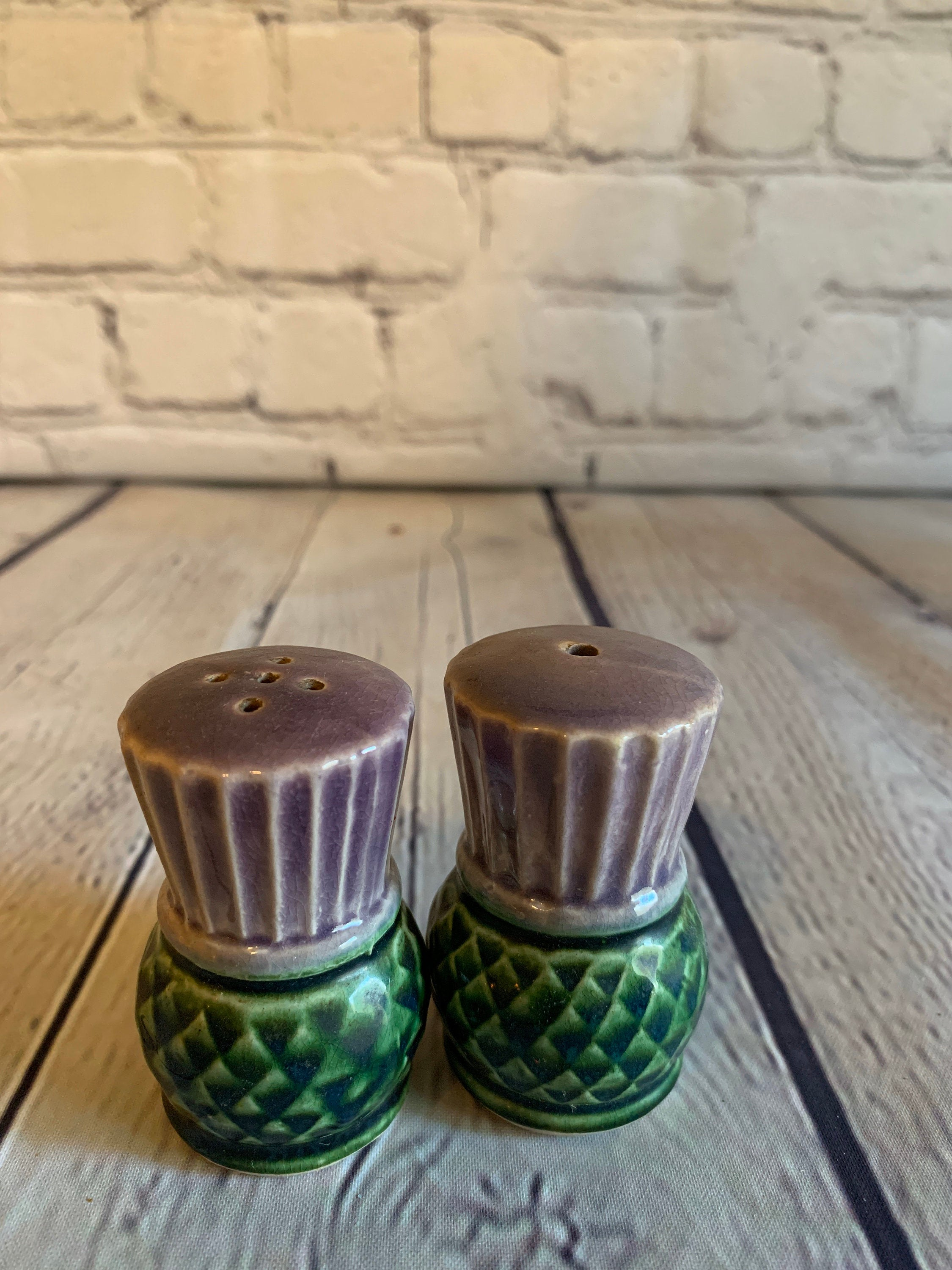 Vintage MCM Ceramic Pineapple Salt & Pepper Shakers-Japan