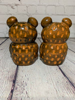 Vintage Large Ceramic LEGO Multi-Tone Brown Bear Salt & Pepper Shakers - Japan