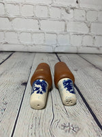 Vintage Handpainted Blue on White Porcelain China and Teak MCM Salt & Pepper Shakers-Japan