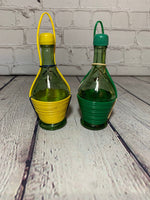 Vintage Glass Wine/Decanter Bottle Salt & Pepper Shakers - Italy 1950's