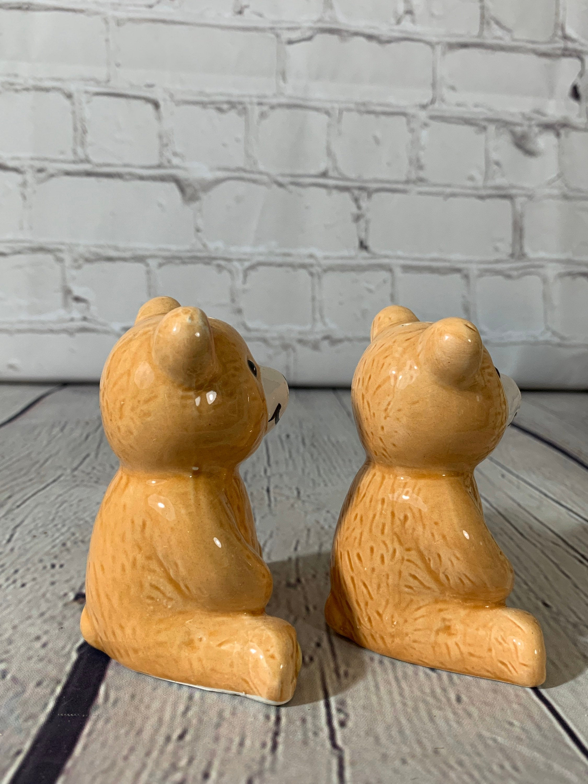 Vintage Ceramic Teddy Bear Salt & Pepper Shakers- 1990's