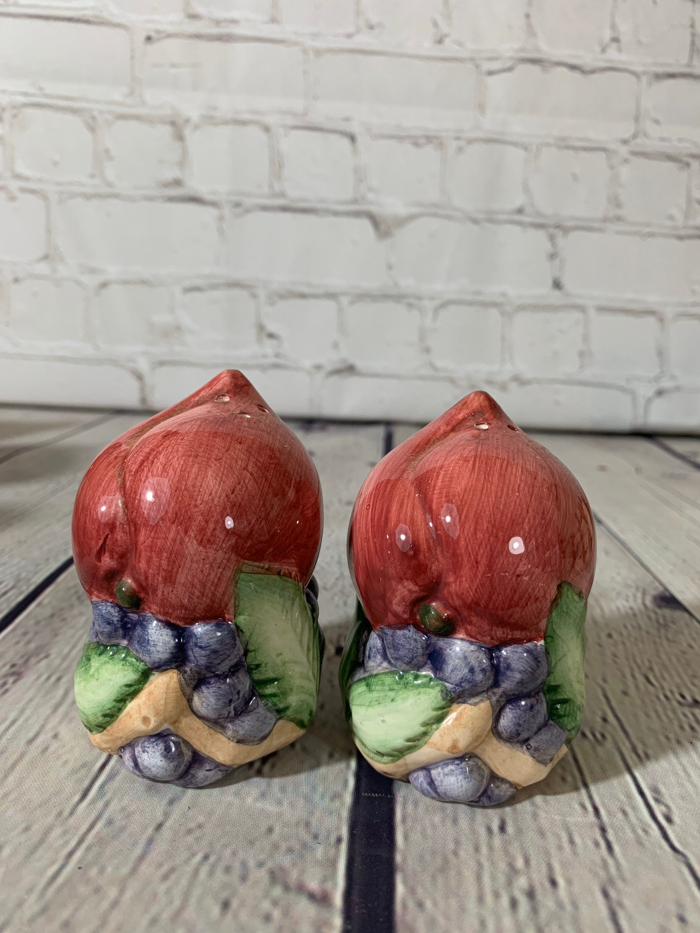Vintage Glazed Ceramic Fruit Cluster Salt & Pepper Shakers -Japan