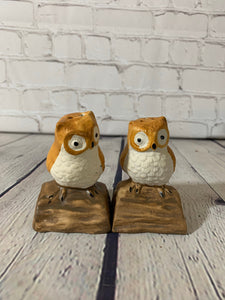 Vintage Ceramic Owls on a Tree Branch Salt & Pepper Shakers- Taiwan 1970's