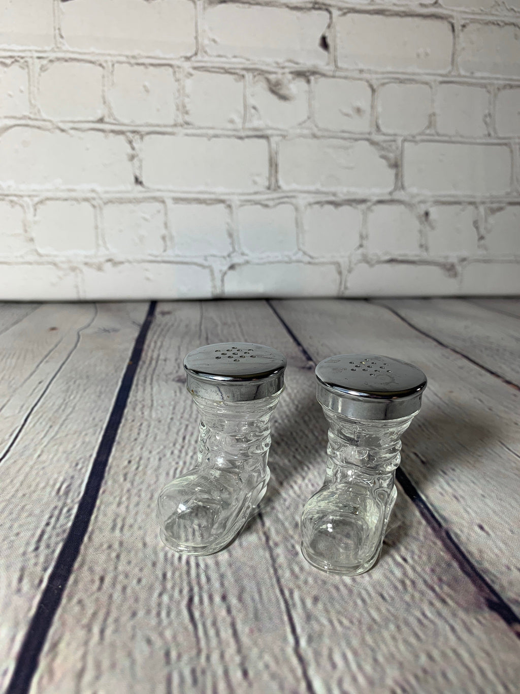Vintage Clear Glass Boots w/Stainless Steel Toppers Salt & Pepper Shakers-1970's