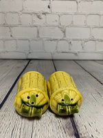 Vintage Ceramic Mustard Yellow Bamboo Basket Salt & Pepper Shakers- Japan 1960's
