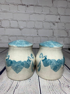 Vintage Handpainted and Glazed Ceramic Pottery Blue Heart Design on Off White Background 1970's