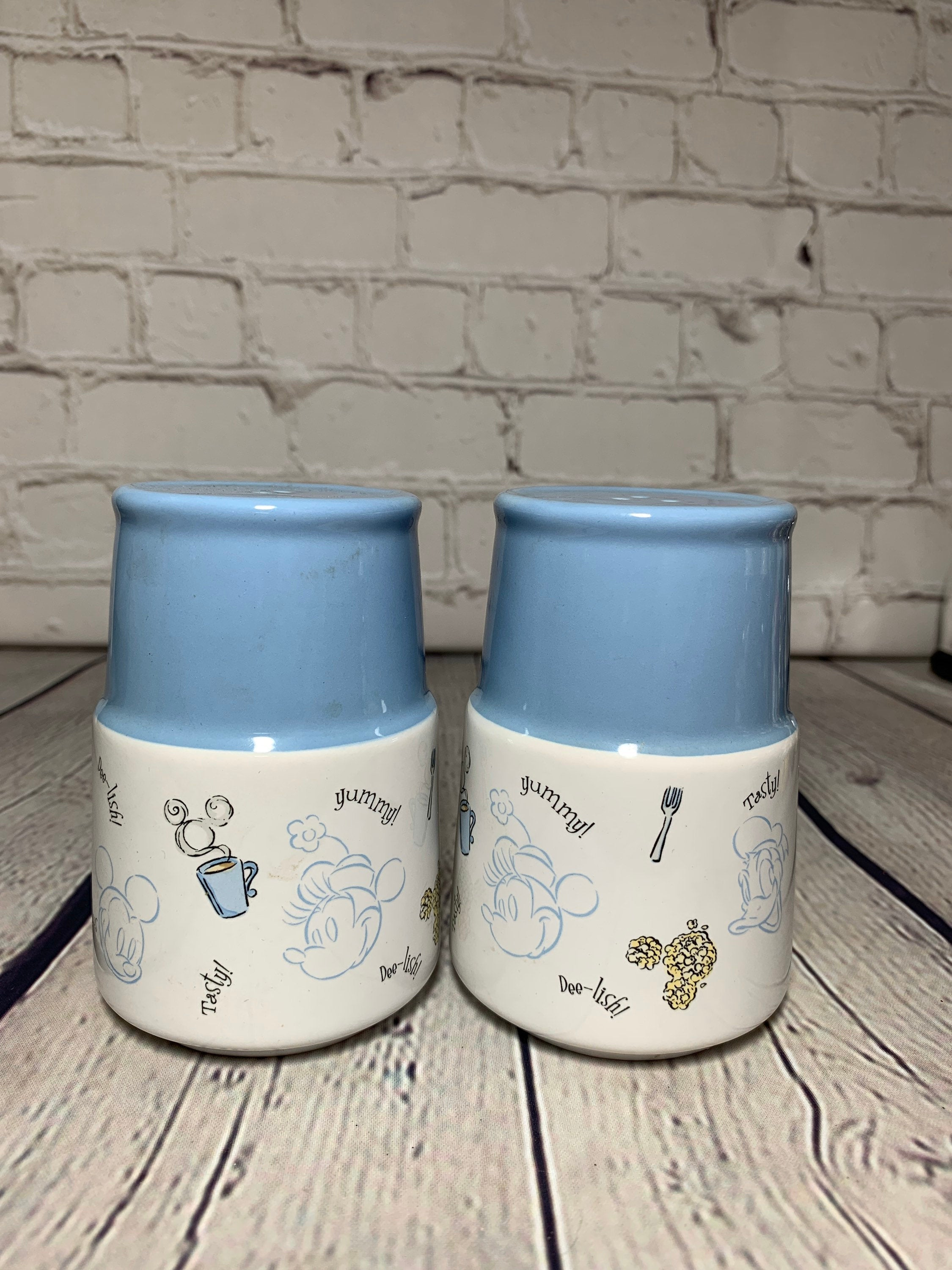 Country Farmhouse Style Blue and White Ceramic and Glazed Foodie Salt & Pepper Shakers