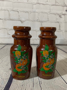 Vintage Pottery Brown Jug/Bottle-Florida w/Oranges Salt & Pepper Shakers-1980's