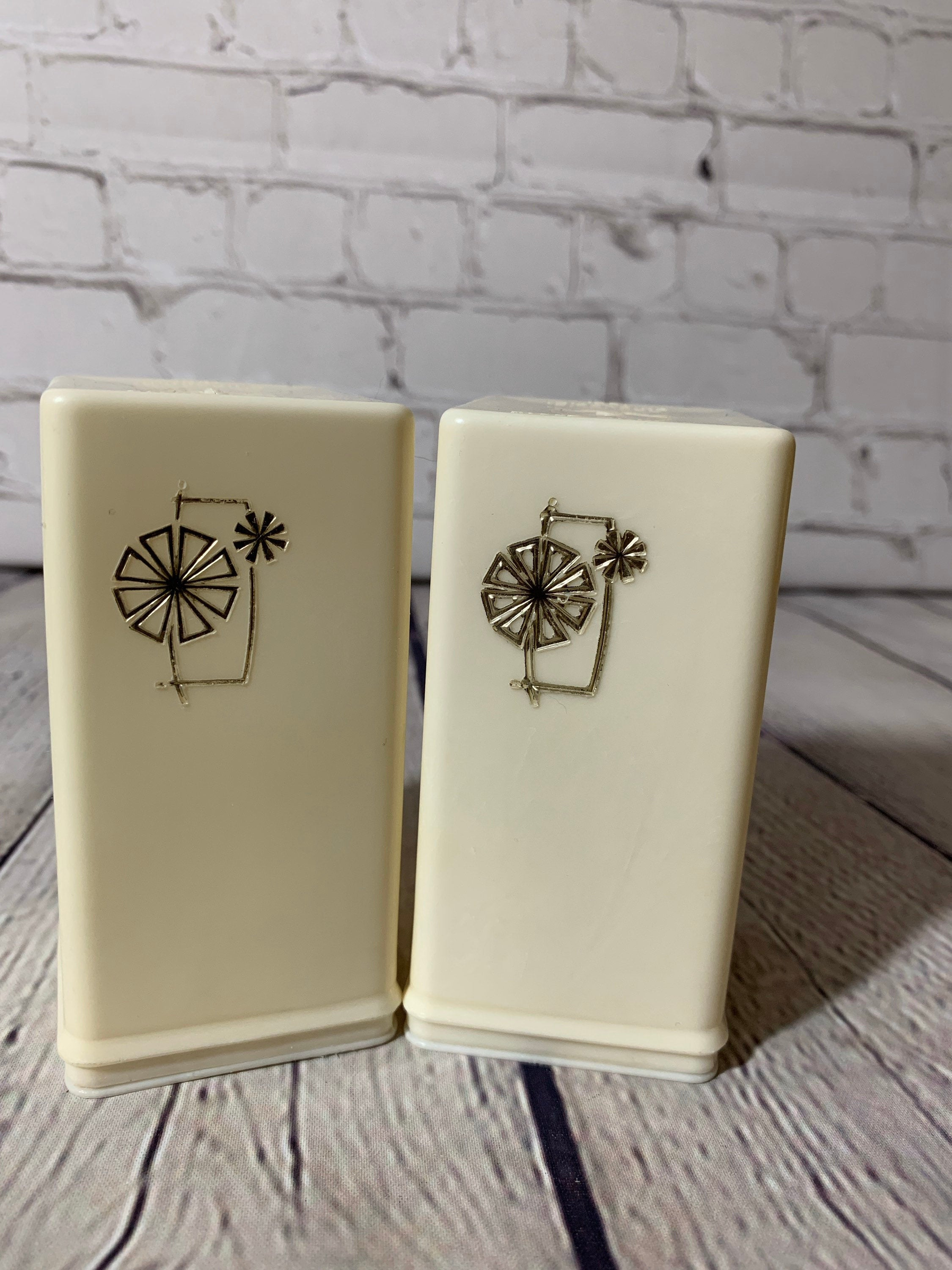 Vintage MCM/Retro Large Golden Crest Cream Color Plastic Salt & Pepper Shakers- 1960's