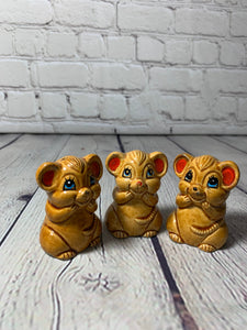 Vintage Ceramic Mice Salt & Pepper Shakers with Toothpick Holder- Japan