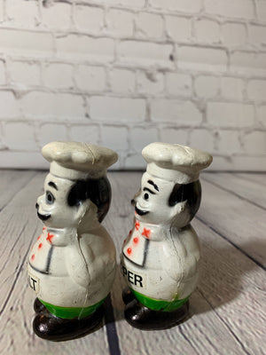 Vintage Thick Plastic Chef Salt & Pepper Shakers - Japan