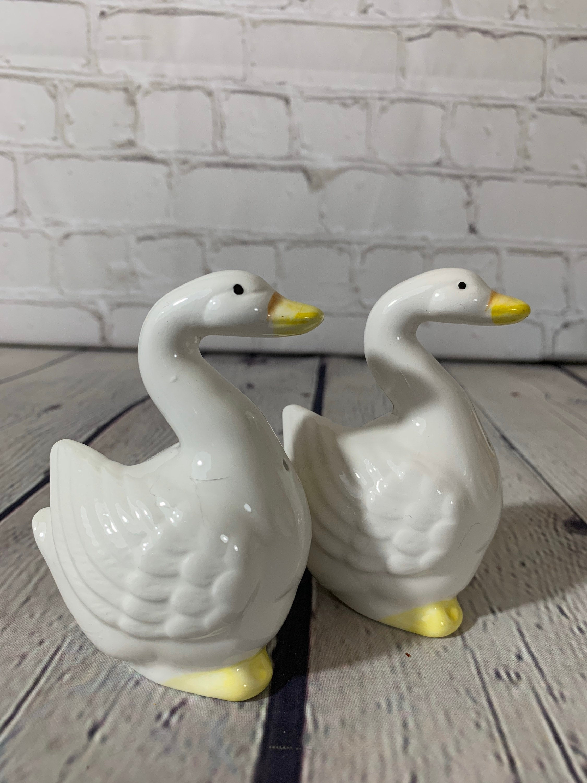 Vintage Porcelain Duck Salt & Pepper Shakers by Ron Gordon Designs-Korea
