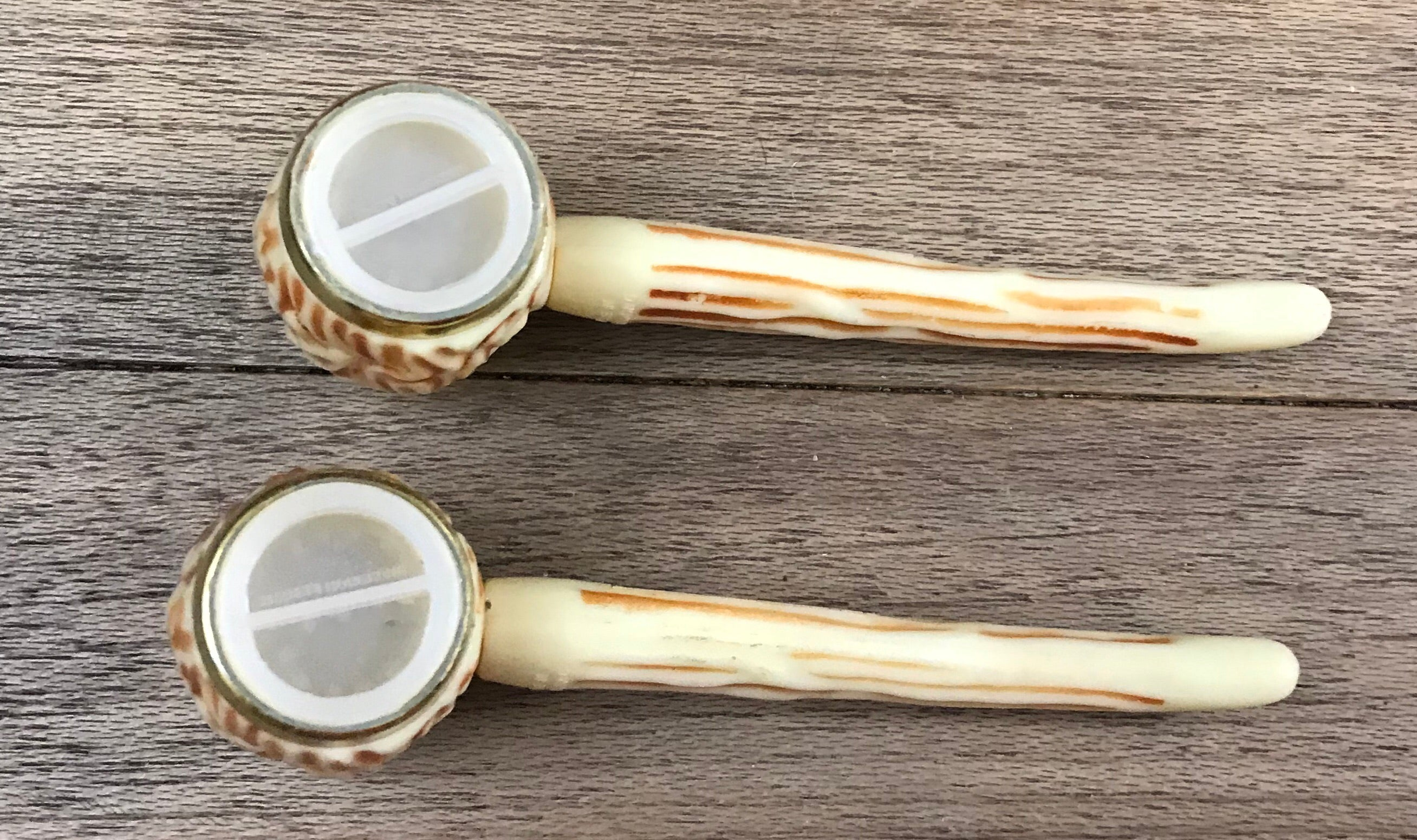 "Vintage Plastic Corn Cob Style Tobacco Smoking Pipe Salt & Pepper Shaker with a faux cow bone/antler Details ""Las Vegas"" Souvenir- 1950's"