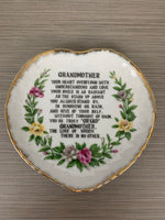 Vintage Collectible Grandmother Poem Plate Gold -Japan