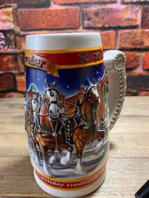 Vintage Budweiser Anheuser-Busch A Century of Tradition Holiday Stein 1999