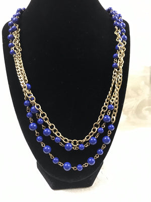 J. Crew Gold Tone Multi Layered Blue Bead Link Curb Chain Necklace