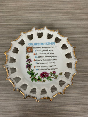 Vintage Collectible plate w/ Grandmother Poem Reticulated Pierced Edge GOLD