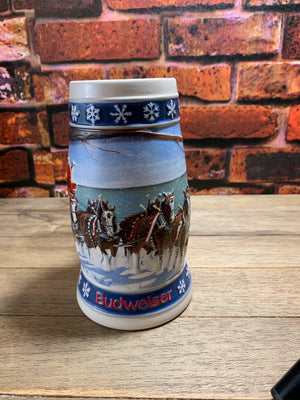 Vintage Budweiser Anheuser-Busch Lighting the Way Home Holiday Stein 1995