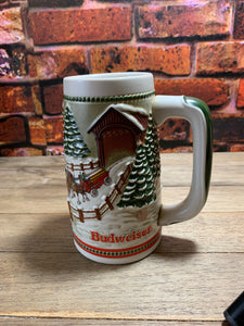 Vintage Ceramic Holiday Anheuser-Busch Clydesdale Stein 1984