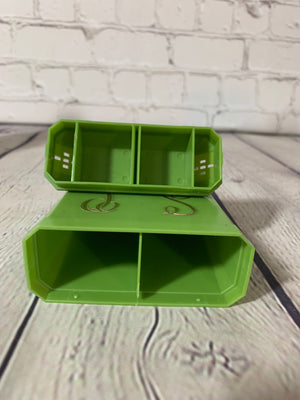 Vintage Mid Century Modern Green Combo Salt & Pepper Shakers