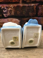 Vintage Ceramic Early Century Couple Drinking Coffee in Rocking Chair Salt & Pepper Shakers Dept 56-1950's