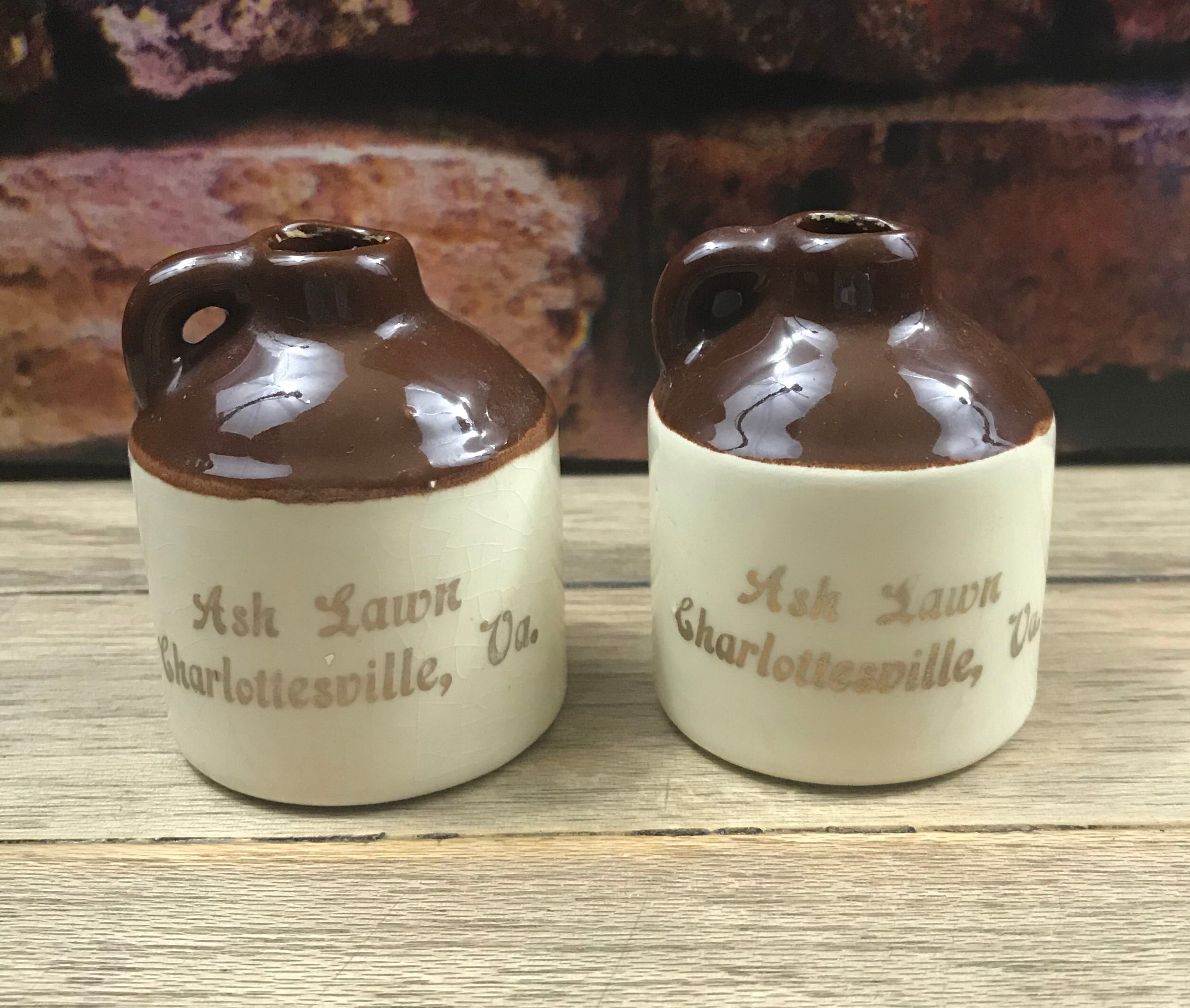 "Vintage Pottery Jugs ""Ash Lawn-Charlottesville VA, 22k Gold Hand Decorated Salt & Pepper Shakers-1980's"