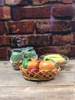 Vintage Fruit in Basket - Bananas, Oranges, Pineapples-3 Sets