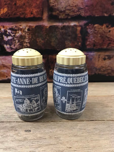 Vintage Ste-Anne-De Beauregard Quebec Canada Glass Salt & Pepper Shakers
