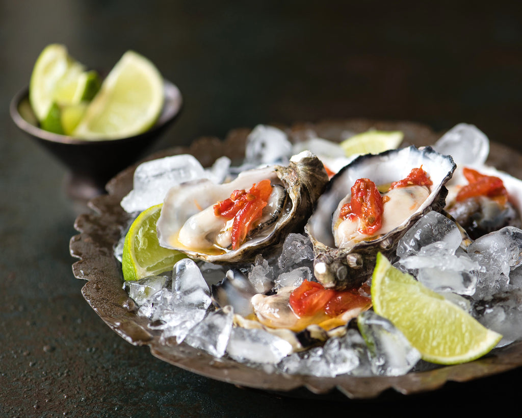 Fresh Oysters<br />with Bee Lane Cold Smoked Tomatoes