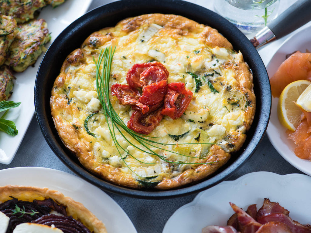 Open-faced Leek & Feta Omelette with Bee Lane Smoked Tomatoes