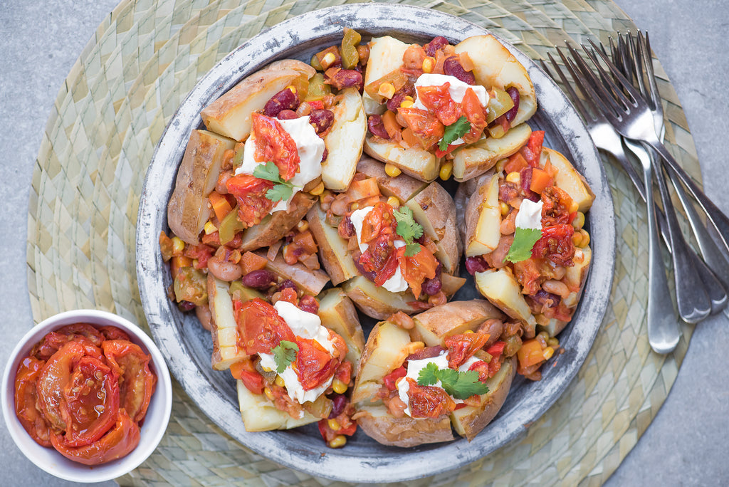 Loaded Baked  WA Potatoes with Bee Lane Cold-Smoked Tomatoes