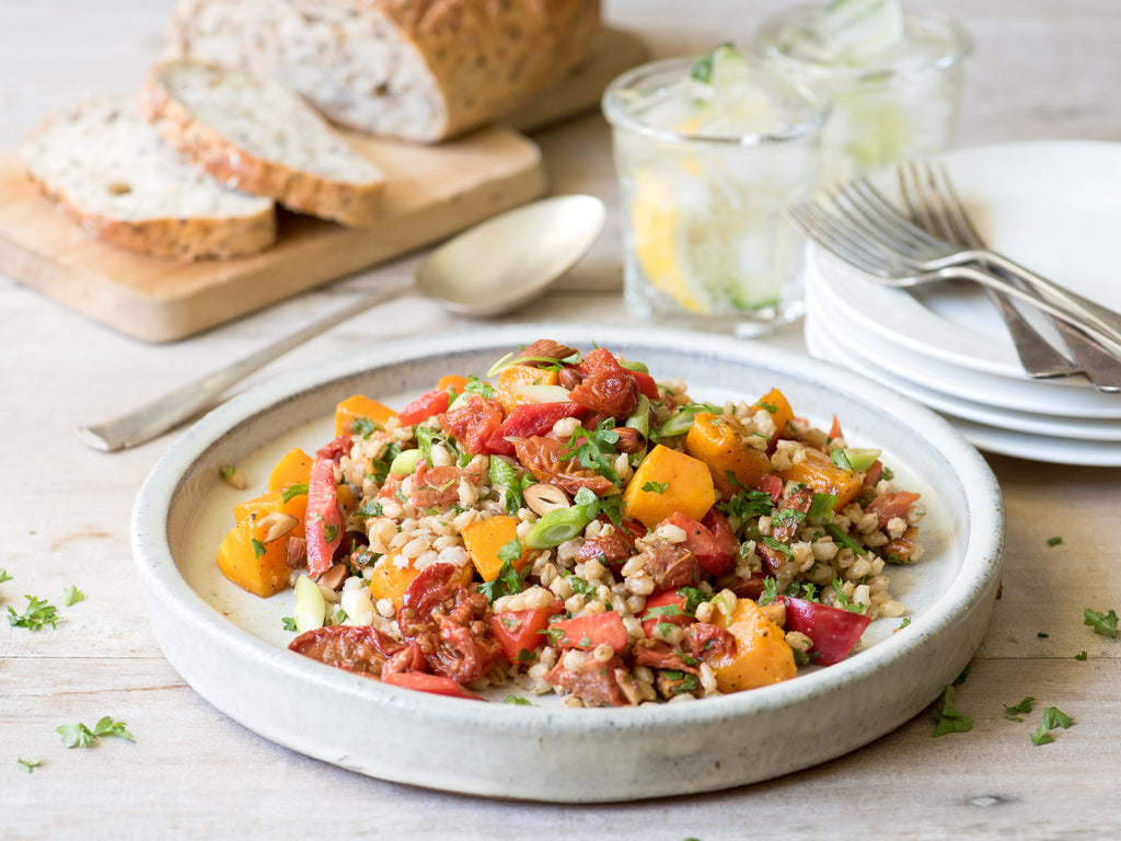 Roast Pumpkin & Barley Salad with Bee Lane Smoked Tomatoes